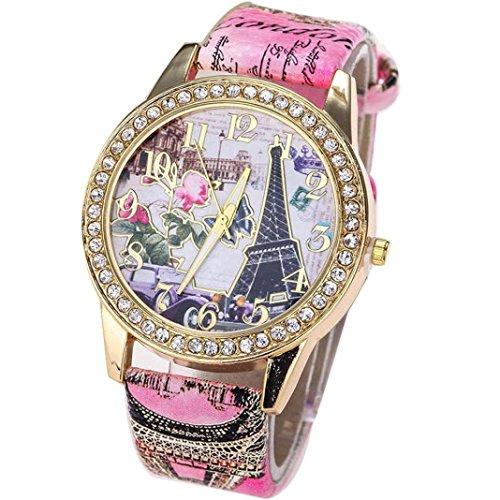 Ecosin® Vintage Paris Eiffel Tower Landscape Painting Leather Quartz Watch Women Casual Crystal Wristwatch (Red)