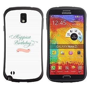 """Pulsar iFace Series Tpu silicona Carcasa Funda Case para Samsung Note 3 , Cumpleaños del trullo Líneas rosadas de papel blanco"""""""