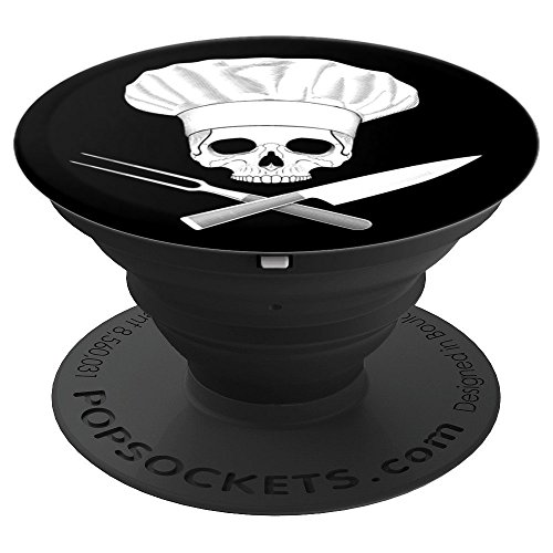 - Chef Skull Crossed Chef Knife And Fork with Chef Hat - PopSockets Grip and Stand for Phones and Tablets