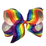 Bling Story Rainbow Grosgrain Ribbons 6'' Large Hair Bows Alligator Clips for Girls