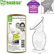 Haakaa Breastpump Manual Breast Pump with Suction Base 100% Food Grade Silicone BPA PVC and Phthalate Free (4oz/100ml)