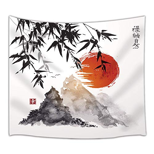 NYMB Japan Icon Fuji Mountain Bamboo Trees Sun Tapestry, Wall Art Hanging for Bedroom Living Room Dorm, 71 X 60 Inches Wall Blankets Home Decor