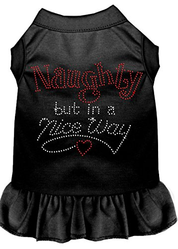 Mirage Pet Products 57-17 XSBK Black Rhinestone Naughty but in a Nice Way Dress, X-Small ()