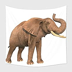 Home Decor Tapestry Wall Hanging Elephant With Trunk Raised On A White Background 372542971 for Bedroom Living Room Dorm