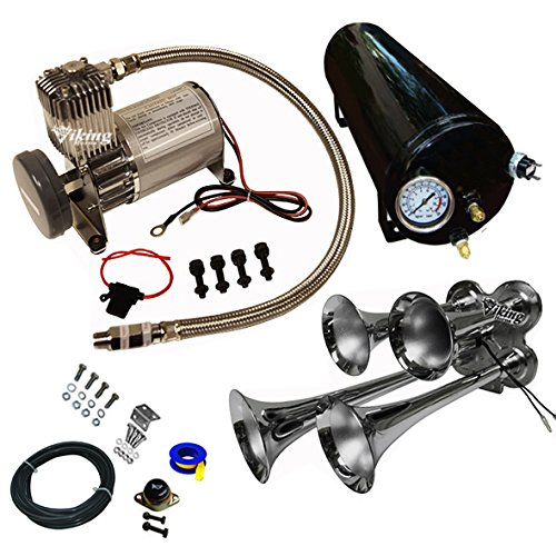 Viking Horns Loud 145 Decibels Four Trumpet Train Air Horn System Kit With 150 PSi Compressor and 1.5 Gallon Air (Viking Horns For Sale)