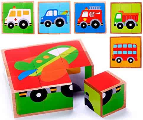 Vehicle Block Chunky Wooden Puzzle for Toddlers, Preschool Age w/ Colorful Solid Wood Cube Pieces & Storage Tray Frame - Fire Truck, Bus & Cars - 6 Puzzles in 1. Simple & Educational Learning for 3+