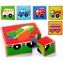 Vehicle Block Chunky Wooden Puzzle for Toddlers, Preschool Age w/ Colorful Solid Wood Cube Pieces - Fire Truck, Bus & Cars - 6 Puzzles in 1. Simple & Educational Learning for 2, 3 & 4 Year Olds
