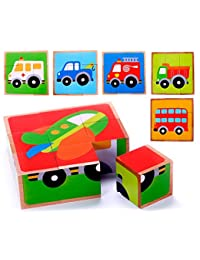 Vehicle Block Chunky Wooden Puzzle for Toddlers, Preschool Age w/ Colorful Solid Wood Cube Pieces - Fire Truck, Bus & Cars - 6 Puzzles in 1. Simple & Educational Learning for 2, 3 & 4 Year Olds BOBEBE Online Baby Store From New York to Miami and Los Angeles