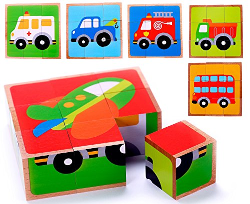 Puzzle Vehicles Chunky (Vehicle Wooden Block Puzzle (6 in 1) for Toddlers Age 3 and Up, Preschool Kids w/Colorful Solid Wood Cube Pieces & Solid Wood Frame - Fire Truck, Airplane, Dump Truck, Ambulance, Bus and Tow Truck)