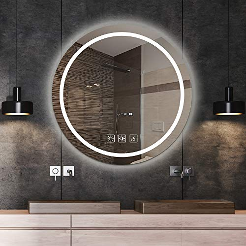 SL4U 24 Inch Round LED Mirror Bathroom, LED Lighted Bathroom Wall Round -