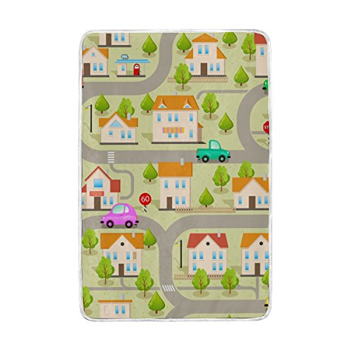 ALAZA Maze Gamecars Streets And Buildings Blankets Lightweight Blanket for Adults Men Women Girls Kids Girls Boys Teens Extra Soft Polyester Fabric Super Warm Sofa Blanket Throw Size 60 x - Queen Street 62