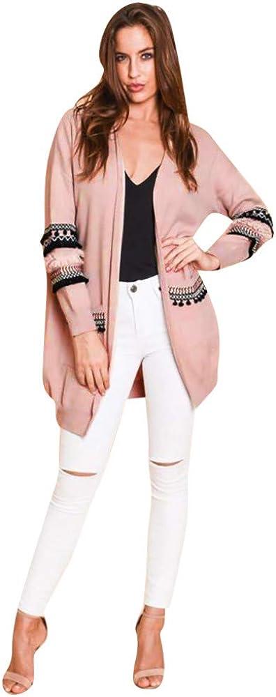 SADUORHAPPY Women Boho Long Sleeve Open Front Knit Cardigan with Pockets Bohemian Knitted Sweater Outwear Coat Tops