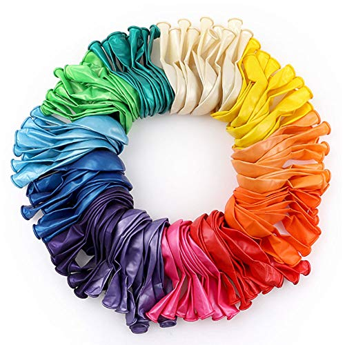 RUBFAC 120 Assorted Color Balloons 12 Inches 12 Kinds of Rainbow Party Latex Balloons, Latex Balloons for Party Decoration, Birthday Party Supplies or Arch Decoration