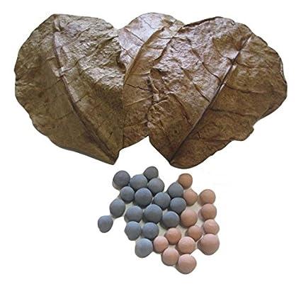 513d30a06 50 Red Bee Ball(8MM) & 50 Mineral Balls (10MM) & 25 Indian Almond Leaves  (10-15cm) Shrimp Water Conditioner Invertebrates Aquarium Betta Fish Tank
