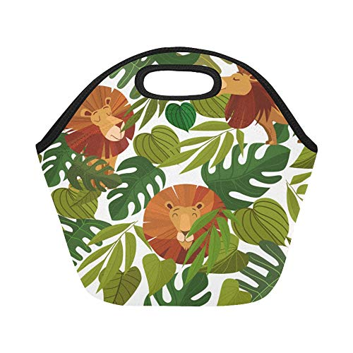 (Insulated Neoprene Lunch Bag Lion Cartoon Cute Animated Hand Drawn Large Size Reusable Thermal Thick Lunch Tote Bags For Lunch Boxes For Outdoors,work, Office, School)