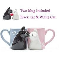 HHOME 2-PCS Kiss Cat Coffee Couple Handmade Mug