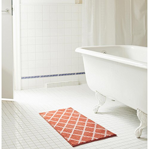 (RT Designers Collection Chester 2-Piece Jacquard Microfiber Bath Mat Set in Coral)