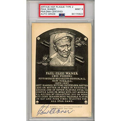 Paul Waner Pittsburgh Pirates Autographed Bartvue HOF Plaque - Mint 9 - PSA/DNA Certified - Autographed MLB Photos