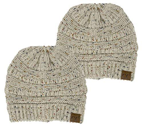 H-6033-2-67 Confetti Knit Beanie Bundle - Oatmeal (2 Pack)
