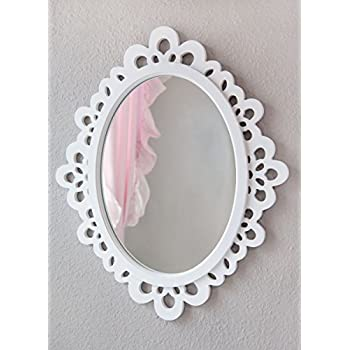 Decorative Oval Wall Mirror, White Wooden Frame for Bathrooms, Bedrooms, Dressers, and Antique Princess Décor, Large