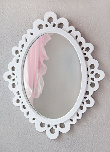 Decorative Oval Wall Mirror, White Wooden Frame for Bathrooms, Bedrooms, Dressers, and Antique Princess Décor, Large (White Mirror Border)