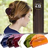 Bleaching Hair From Black To Red - RC ROCHE ORNAMENT Womens Jaw Claw Flat Clutcher Clamp No Slip Grip Strong Hold Cute Accessory Salon Styling Fashion Girls Beauty Hair Clip, 12 Pack Count Medium Classic Multicolor