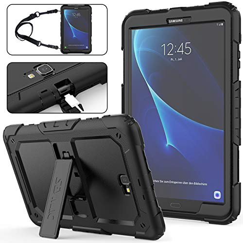SEYMAC Stock Compatible with Galaxy Tab A 10.1 T580/T585/T587 Case, Full-body [Heavy Duty]&Shockproof Hybrid Armor Protection with Stand&Portable Strap Compatible with Samsung Tab A 10.1-(Black+Black)