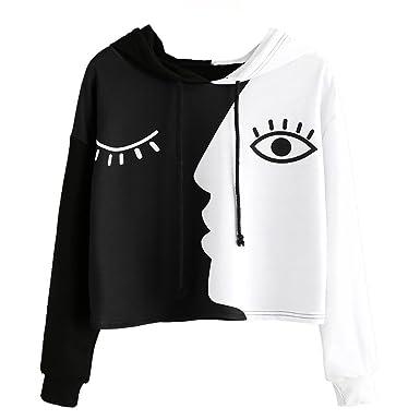KanLin1986 Sudadera para Mujer, Señoras Sudadera con Capucha de Manga Larga para Mujer Crop Patchwork Blusa Pullover Camiseta Tops Cortos Atractivos: ...