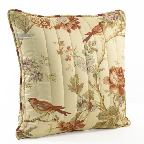 Waverly 11396020X020PPY Charleston Chirp 20-Inch by 20-Inch Square Quilted Decorative Pillow ()