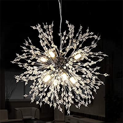 Ganeed Firework Chandeliers,LED Crystal Modern Pendant Lighting with 8 Lights,Stanless Steel Ceiling Light Fixtures Pendant Lamp for Living Room Bedroon Restaurant, Dia15.7 inch,Chrome