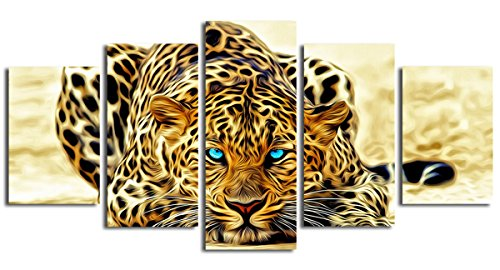 DZL Art D40339B Home Decoration,Framed,Stretched and Ready to Hang- 5 Panels Yellow Abstract Leopards Painting Wall Art Animal Picture Print On Canvas
