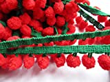 YYCRAFT Red/Green Pom Pom Ball fringe Trim Ribbon