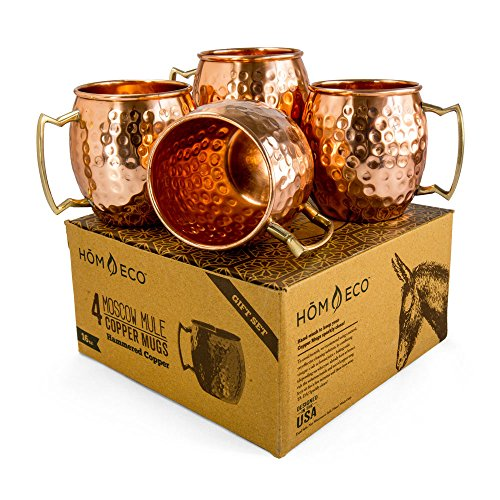 Plastic Personalized Mugs - Copper Mugs Moscow Mule Set (Pack of 4 mugs), Pure Solid Copper No Nickel Lining, No Lead, Hammered Finish, 16 oz, by HomEco