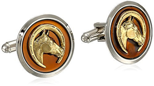 (1928 Jewelry Unisex Gold and Silver-Tone Round Brown Enamel Horse Cuff Links)