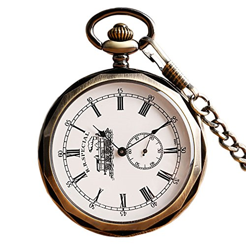 Face Pocket Watch Chain (Bronze Roman Numerals Mechanical Pocket Watch Open Face with Chain Transparent Glass Train Design Engraved Christmas gift)