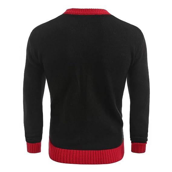 Navidad Impreso suéter de invierno Punto superior a rayas Blusa casual con estampado navideño de hombre Invierno Abrigo Casual Sudadera con Capucha Chaqueta ...