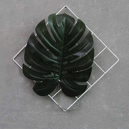 Palm Leaf Wall Sculpture - ChezMax Painted Wire Wall Grid Panel with Fake Palm Leaves Decorative Iron Wall Hanging Art Disply Photowall 11.8
