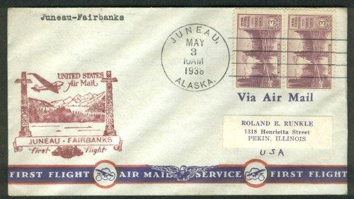 (US Air Mail First Flight postal cover Juneau-Fairbanks AK 1936)