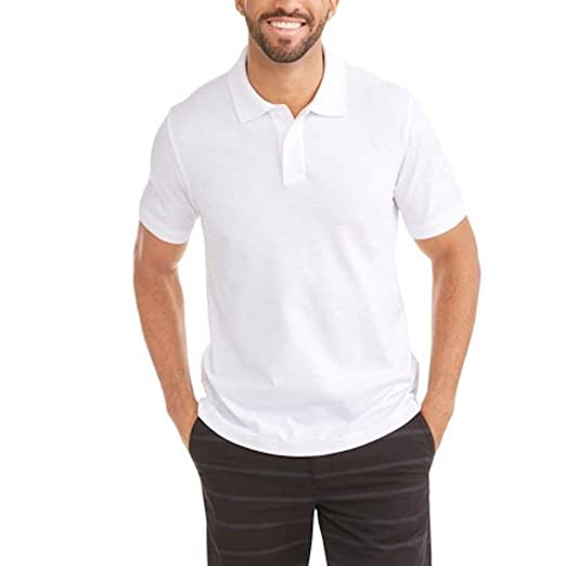 bed97fa8 George Men's Patterned No-Roll Collar Short Sleeve Polo Shirt (Small 34/36,  Meadow Heather White)