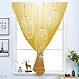 Blackout Curtain Free Punching Magic Stickers Window Curtain,Christmas,Merry Xmas Round Baubles Hanging in the Air Advent Season Feelings Holy Day Print,Mustard,for Living Room Bedroom, study, kitchen