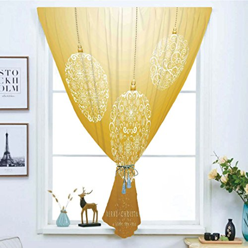 Blackout Curtain Free Punching Magic Stickers Window Curtain,Christmas,Merry Xmas Round Baubles Hanging in the Air Advent Season Feelings Holy Day Print,Mustard,for Living Room Bedroom, study, kitchen by iPrint