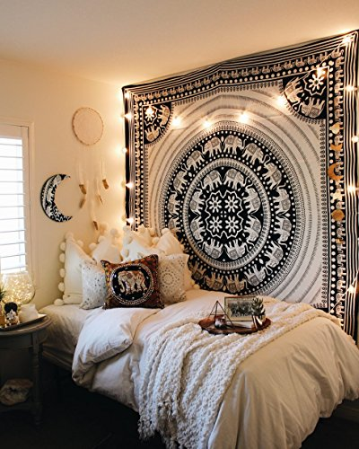 DIYANA IMPEX Elephant Tapestry Indian Wall Decor Hippie Mandala Tapestry Boho Tapestry White Color Wall Hanging (Black and White)