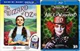 3D Rabbit Hole & Yellow Brick Road Musical The Wizard of Oz Movie Exclusive Blu Ray Lunchbag & Alice in Wonderland Tim Burton Disney Double Family Feature