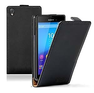 Membrane - Negro Funda Carcasa para Sony Xperia M4 Aqua / M4 Aqua Dual - Flip Case Cover + 2 Protector de Pantalla