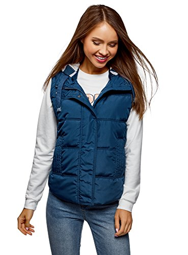 oodji Ultra Women's Quilted Vest with Contrast Jersey Hood, Blue, 8 (Jersey Quilted)