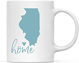 Andaz Press 11oz. US State Coffee Mug Gift, Aqua Home Heart, Illinois, 1-Pack, Unique Hostess Distance Moving Away Christmas Birthday Gifts for Her
