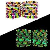 FROG SAC Glow in The Dark Bracelets Boys Girls Teens Kids 12 PCs Pack - Fluorescent UV Led Black Light Reactive Neon Rave Beaded Stretch Bracelet Toy Set - Party Favors Supplies