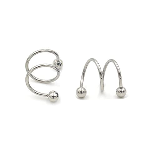 9eb7e764262fe ODETOJOY 1 Pair Punk Spiral Twister Barbell Earring Gauge 16G Ball Steel  Anodized S Double Ear Cartilage Helix Lip Rings Tragus Piercing