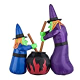 HOMCOM 5.5' Witches with Cauldron LED Light Outdoor Airblown Inflatable Halloween Yard Decoration