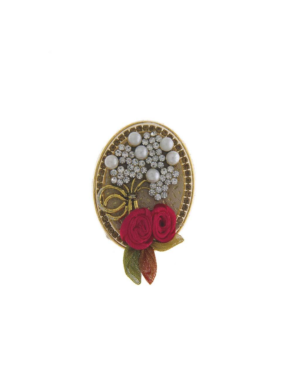 Anuradha Art Oval Shape Designer Stylish Saree Pin for Women/Girls